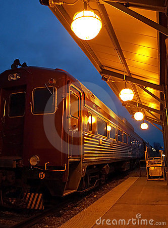 Vintage train at night