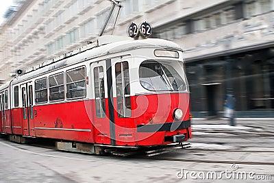 Vintage tram in motion
