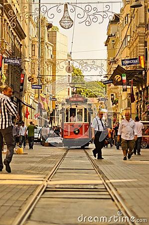 Vintage tram on the Taksim Istiklal Street Editorial Stock Image