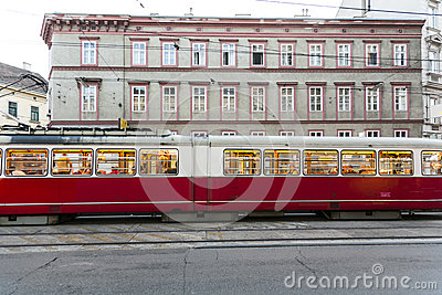 Vintage tram in Vienna in motion Editorial Stock Photo