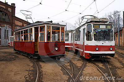 Vintage trams in depot