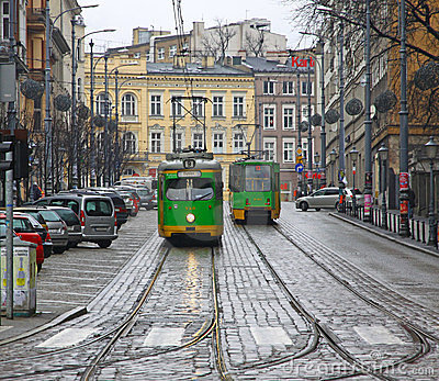 Vintage trams on a street of Poznan Editorial Stock Photo
