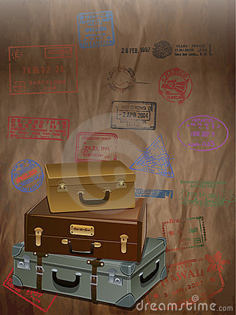 Vintage Travel with a luggage and stamp