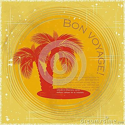 Vintage travel postcard - two palm trees