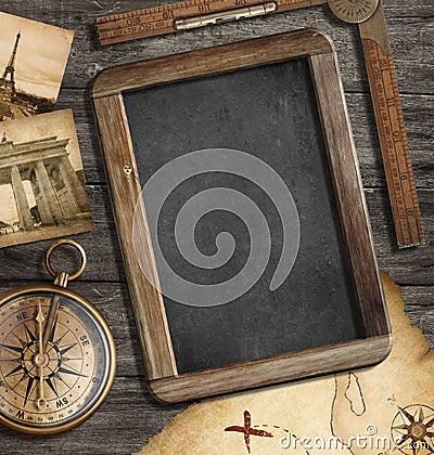 Vintage treasure map, blackboard, old compass