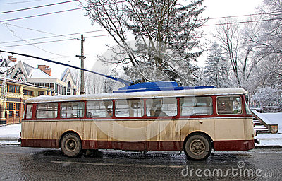 Vintage trolleybus on the street of Chernivtsi, Ukraine