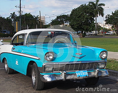 Vintage Turquoise And White Cuban Car Editorial Image