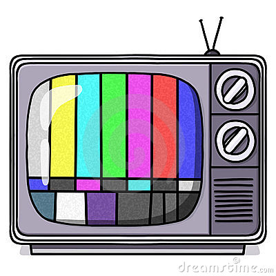 Vintage TV set illustration with test pattern