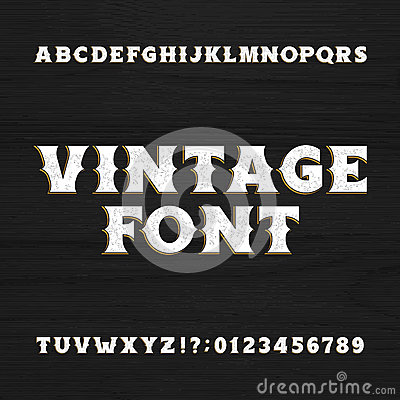 Vintage Typeface Retro Distressed Alphabet Font On A Wooden Background Vector Illustration