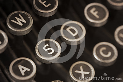 Vintage Typewriter Keys with Grunge Effects