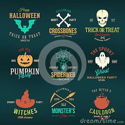 Free Vintage Typography Halloween Vector Color Badges Royalty Free Stock Images - 45551969