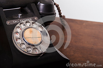 GPO 332 vintage telephone - close up of rotary dial