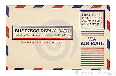 Vintage United States Airmail Business Reply Card