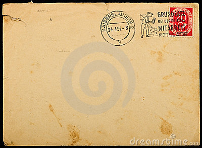 Vintage used mailing envelope,circa 1954.
