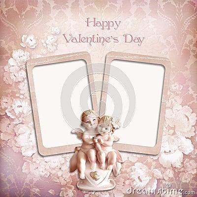 Vintage valentine background with frames and angels