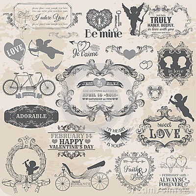 Free Vintage Valentines Love Set Royalty Free Stock Photo - 29900465
