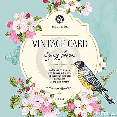 Vintage vector card spring. Vector Illustration