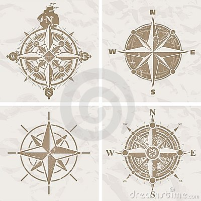 Vintage vector compass rose