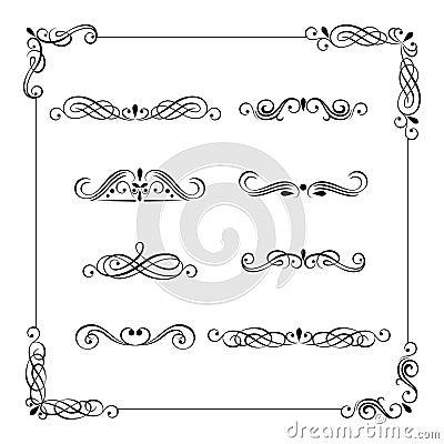 Free Vintage Vector Frame, Border, Divider, Corner Royalty Free Stock Images - 38181379