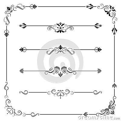 Free Vintage Vector Frame Border Divider Corner Royalty Free Stock Photos - 41493838