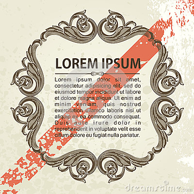 Vintage vector frame ornate with sample text