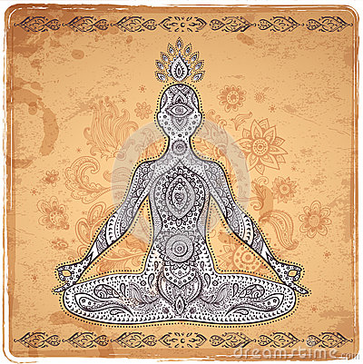Free Vintage Vector Illustration With A Meditation Pose Stock Photo - 45807370