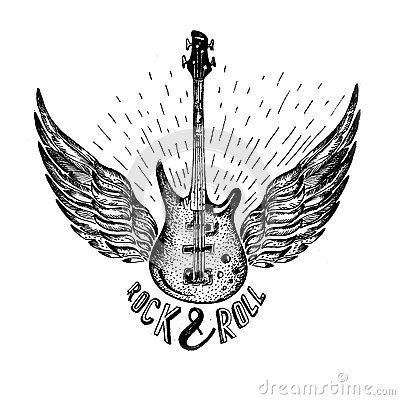 Free Vintage Vector Label With Rock And Roll Forever , Guitar Royalty Free Stock Photography - 68265317