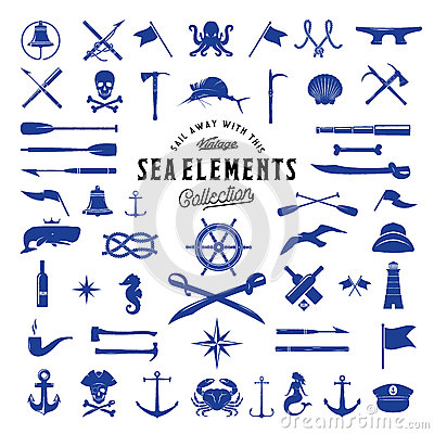 Free Vintage Vector Sea Or Nautical Icon Elements Set For Your Retro Labels, Badges And Logos. Stock Photo - 66452850