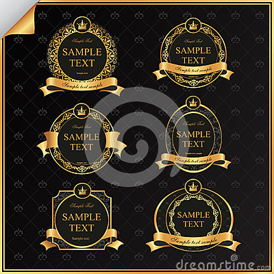 Free Vintage Vector Set Of Black Frame Label With Gold  Stock Images - 30036604
