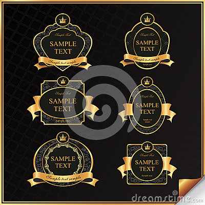 Free Vintage Vector Set Of Black Frame Label With Gold  Stock Photography - 30036632
