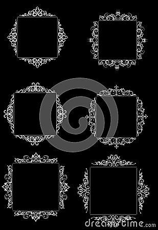 Free Vintage Vector Swirl Frame Set Royalty Free Stock Images - 95409209