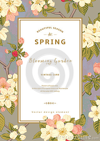 Free Vintage Vector Vertical Spring Card. Stock Photo - 49994560