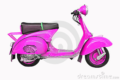 Vintage vespa on a white background
