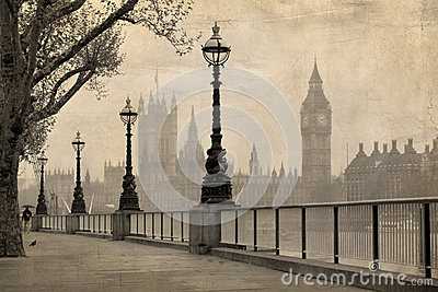 Vintage view of London, Big Ben & Parliament