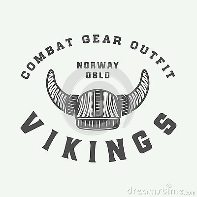 Free Vintage Vikings Motivational Logo, Label, Emblem, Badge Stock Photography - 129308572