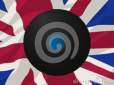Vintage vinyl disk and Union Jack