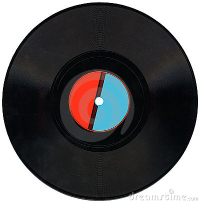 Vintage vinyl record,red,blue label, clipping,coal