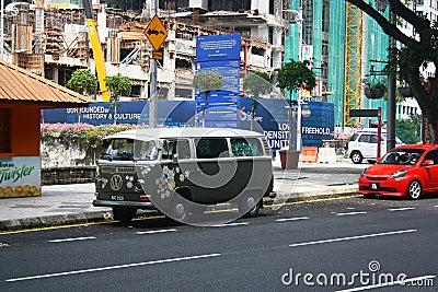 Vintage Volkswagen Camper Van in Kuala Lumpur Malaysia Editorial Image