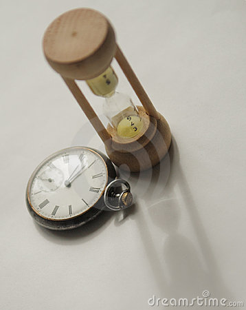 Vintage watch and hourglass
