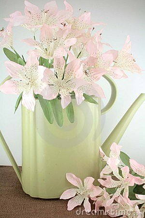 Vintage water pail with flowers