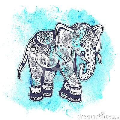 Vintage elephant illustration with blue watercolor background Vintage Elephant Illustration