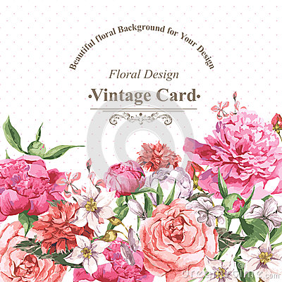 Free Vintage Watercolor Greeting Card With Blooming Stock Photo - 54272970