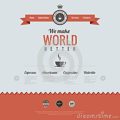 Vintage Website Design Template. Coffee Theme. HTM Royalty ...