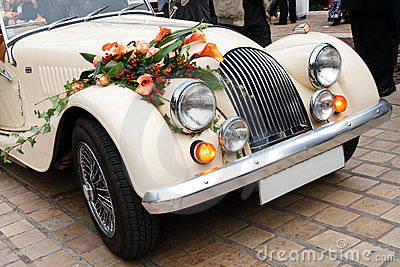 Vintage Wedding Car Decorated with Flowers