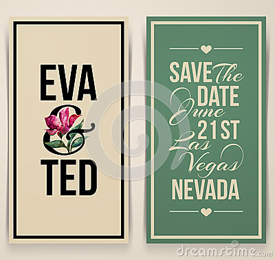 Vintage wedding card with pink tulip. Vector illustration