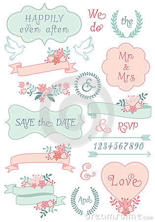 Vintage wedding frames and ribbons, vector set