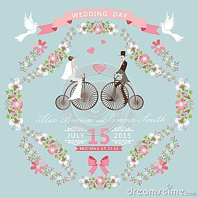Free Vintage Wedding Invitation.Floral Frame, Bride, Gr Stock Photography - 42672742