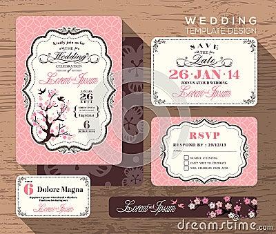 Vintage wedding invitation set design Template Vector Illustration