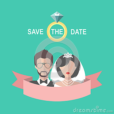 Vintage wedding romantic card with ribbon, ring, bride and groom in flat style. Save the Date invitation in vector Vector Illustration