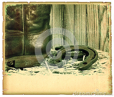Vintage western background with cowboy shoe